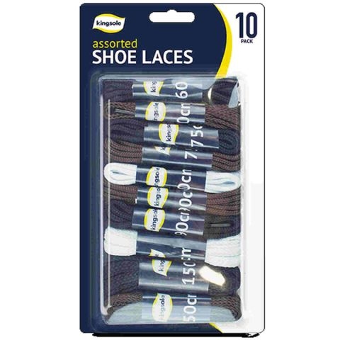 Assorted 10 Pack Black Brown White Boot Trainer Laces